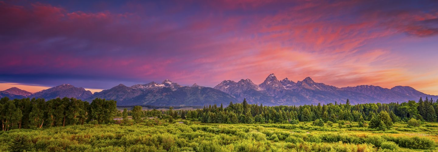 Colorful summer sunrise at Blacktail Ponds Overlook in Grand Teton National Park, WY