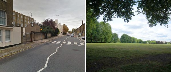 Two images: The first is an urban road lined with apartments, the second a grassy park with a line of trees in the distance.