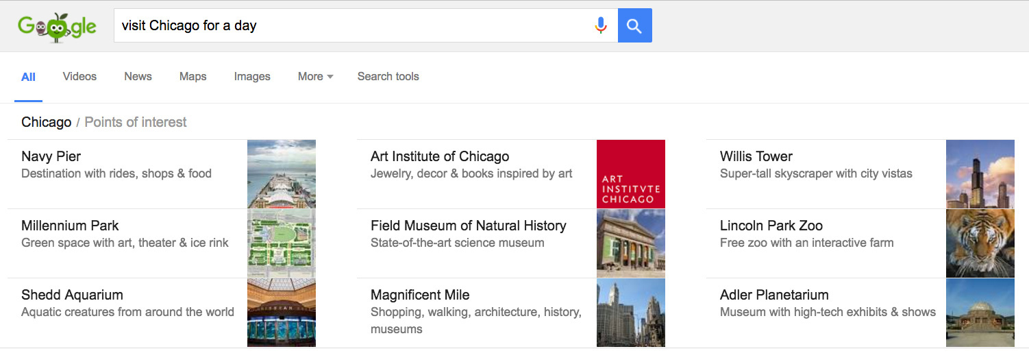 Google search results with short descriptions of Chicago attractions.