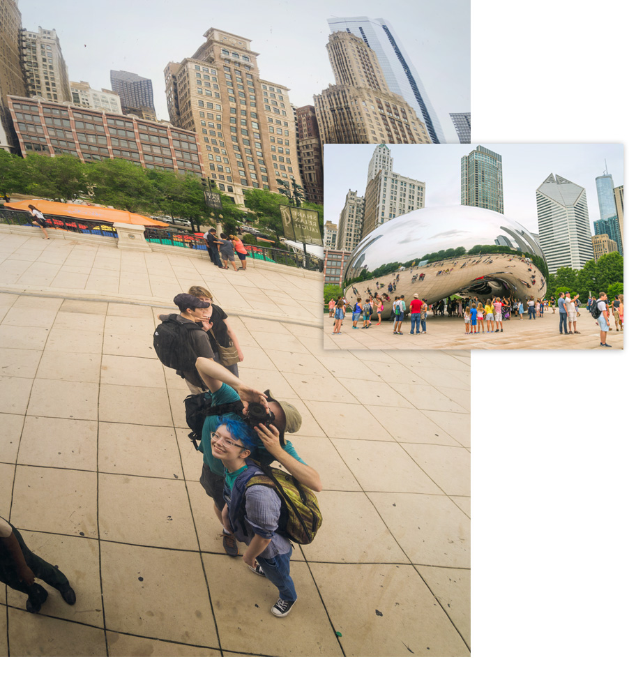 Family picture reflected in Chicago's Cloud Gate sculpture