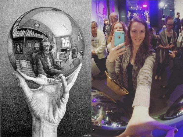 Two images: One a ketch of MC Escher reflected in glass sphere, second the author taking selfie in reflected sphere at museum