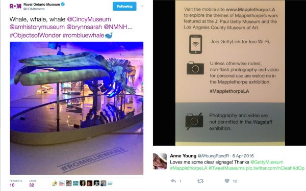 Two image tweets, one of a whale skeleton with #ROMBlueWhale on floor, second of sign in museum encouraging photography