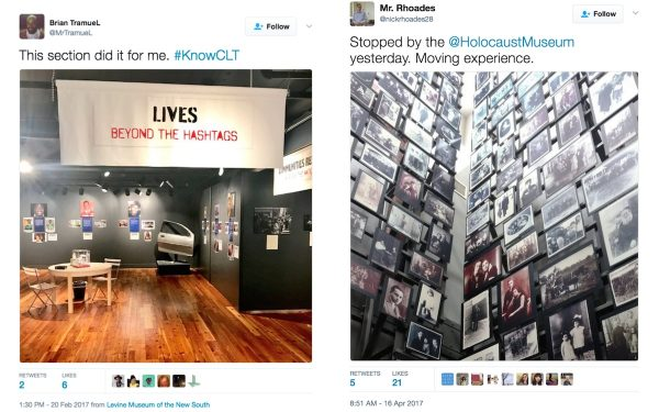 Two image tweets, one of K(no)w Justice, K(no)w Peace exhibition at Levine Museum in Charlotte, Second picture taken at US Holocaust Museum