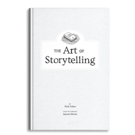 "hardcover book with the title ""The Art of Storytelling"""
